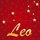 Constellation Leo over red starry background. Illustration Stock Photos