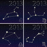 Constellation of leo, virgo, libra, scorpius Stock Photos