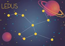 The constellation Lepus. Bright image of the constellation Lepus. Kids who are fond of astronomy will like it very much Royalty Free Illustration