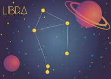 The constellation Libra. Bright image of the constellation Libra. Kids who are fond of astronomy will like it very much royalty free illustration