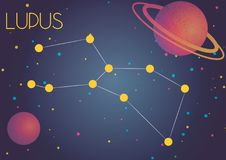 The constellation Lupus. Bright image of the constellation Lupus. Kids who are fond of astronomy will like it very much Royalty Free Illustration