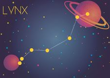 The constellation Lynx. Bright image of the constellation Lynx. Kids who are fond of astronomy will like it very much vector illustration
