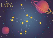 The constellation Lyra. Bright image of the constellation Lyra. Kids who are fond of astronomy will like it very much royalty free illustration