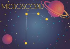 The constellation Microscopium. Bright image of the constellation Microscopium. Kids who are fond of astronomy will like it very much Vector Illustration