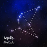 Constellation in the night starry sky. Aquila eagle constellation in the night starry sky. Vector illustration Royalty Free Stock Photography