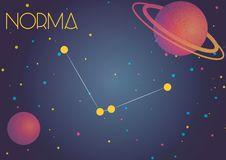 The constellation Norma. Bright image of the constellation Norma. Kids who are fond of astronomy will like it very much Vector Illustration