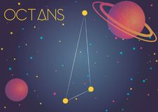 The constellation Octans. Bright image of the constellation Octans. Kids who are fond of astronomy will like it very much Royalty Free Illustration