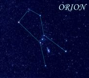 Constellation Orion. Orion constellation. Computer art work. Star colors, brightness\' and positions correspond to real stars that are visible on the night sky Royalty Free Stock Images