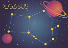 The constellation Pegasus. Bright image of the constellation Pegasus. Kids who are fond of astronomy will like it very much Stock Illustration