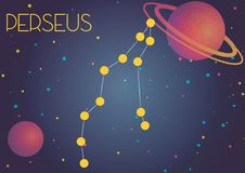 The constellation Perseus. Bright image of the constellation Perseus. Kids who are fond of astronomy will like it very much vector illustration