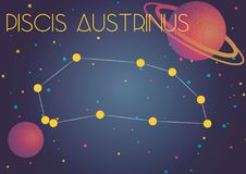 The constellation Piscis Austrinus. Bright image of the constellation Piscis Austrinus. Kids who are fond of astronomy will like it very much Stock Illustration