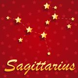 Constellation Sagittarius over red starry background. Illustration Royalty Free Stock Images