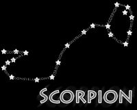 Constellation Scorpion (Scorpius). Text constellation on black background Royalty Free Stock Photo