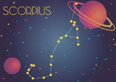 The constellation Scorpius. Bright image of the constellation Scorpius. Kids who are fond of astronomy will like it very much Stock Illustration