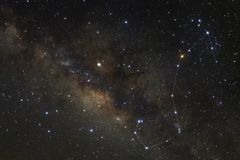 Constellation Scorpius and milky way galaxy.  stock images