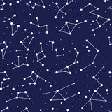 Constellation seamless background pattern. zodiac map Stock Photography