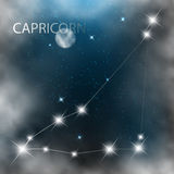 Constellation sign bright stars in cosmos. With moon and clouds Stock Images