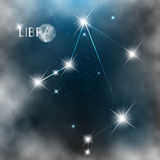 Constellation sign bright stars in cosmos. With moon and clouds Stock Photos