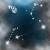 Constellation sign bright stars in cosmos. With moon and clouds Stock Photo