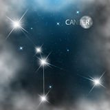 Constellation sign bright stars in cosmos. With moon and clouds Royalty Free Stock Photography