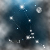 Constellation sign bright stars in cosmos. With moon and clouds Royalty Free Stock Images