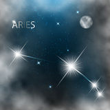 Constellation sign bright stars in cosmos. With moon and clouds Royalty Free Stock Photo