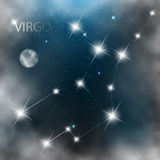 Constellation sign bright stars in cosmos. Constellation sign bright stars in cosmos with moon and clouds Stock Photography