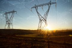 Composite image of constellation between stars. Constellation between stars against the evening electricity pylon silhouette stock photography