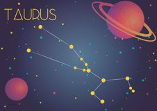 The constellation Taurus. Bright image of the constellation Taurus. Kids who are fond of astronomy will like it very much Stock Illustration