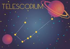 The constellation Telescopium. Bright image of the constellation Telescopium. Kids who are fond of astronomy will like it very much Vector Illustration