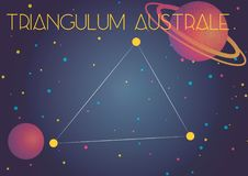 The constellation Triangulum Australe. Bright image of the constellation Triangulum Australe. Kids who are fond of astronomy will like it very much royalty free illustration