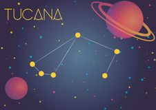 The constellation Tucana. Bright image of the constellation Tucana. Kids who are fond of astronomy will like it very much vector illustration