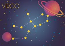The constellation Virgo. Bright image of the constellation Gemini. Kids who are fond of astronomy will like it very much Vector Illustration