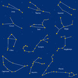constellation of the zodiac signs,  illustration  Royalty Free Stock Photo