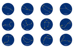 Constellation of the zodiac signs, vector illustration. Constellation of the zodiac signs on blue round background, vector illustration stock illustration