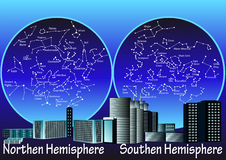 Constellations of hemisphere. Constellations of the northern and southern hemisphere Stock Image