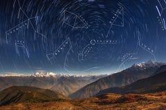 Constellations in Northern Hemisphere. Northern Hemisphere Circumpolar Constellations above the beautiful Himalayas. Nepal, Langtang region, stunning Ganesh royalty free stock image