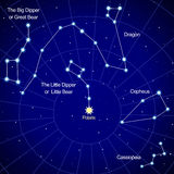 Constellations of the Northern Hemisphere.. Map of the starry sky. Constellations of the Northern Hemisphere. Big Dipper. Little Dipper and the polar of star Stock Photography