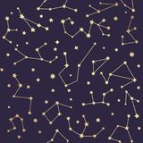 Constellations seamless pattern. Golden stars. Vector illustrati Royalty Free Stock Image