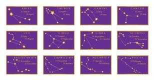 Constellations zodiacales avec ses données des mois dans les vues d'or Étoiles d'or reliées par des lignes sur le fond pourpre illustration stock