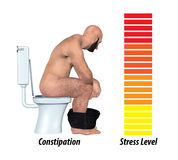 Constipation Anxiety Stress Illustration. A man suffering from constipation, having difficulty in emptying the bowels Royalty Free Stock Photography