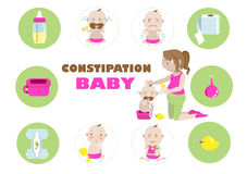 Constipation baby. Illustration in the circle Royalty Free Stock Photo