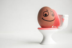 Constipation concept. A funny egg Royalty Free Stock Photo