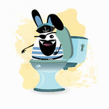 Constipation concept. Funny and funny. The captain on the toilet. photo for your design Royalty Free Stock Images