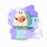 Constipation, diarrhea and abdominal pain. Concept.breathing of the stomach and gases. malnutrition. diet. funny comic rabbit on the toilet ceramic. funny Royalty Free Stock Photography
