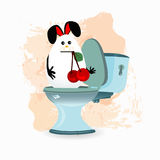 Constipation, diarrhea and abdominal pain concept. Malnutrition. diet. funny comic rabbit on the toilet ceramic. with a cherry in the teeth Stock Images