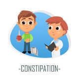 Constipation medical concept. Vector illustration. Doctor and patient are talking in the hospital. Isolated on white background Royalty Free Stock Images