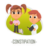 Constipation medical concept. Vector illustration. Doctor and patient are talking in the hospital. Isolated on white background Stock Photos