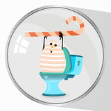 Constipation of pain in the abdomen concept. Diarrhea and bloating. A funny egg with a sweet stick on the toilet. Not the right food. illustration Stock Photos
