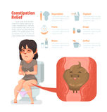 Constipation relief. Woman sit at toilet, Constipation symptom, Healthcare and medical Stock Photos